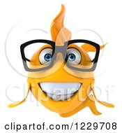 Clipart Of A 3d Happy Bespectacled Goldfish Royalty Free Illustration by Julos
