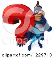 Clipart Of A 3d Blue Super Hero Man Holding A Question Mark 3 Royalty Free Illustration