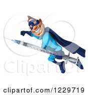 Clipart Of A 3d Super Hero Man In A Blue Costume Flying With A Vaccine Syringe 3 Royalty Free Illustration