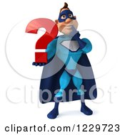 Clipart Of A 3d Blue Super Hero Man Holding A Question Mark Royalty Free Illustration