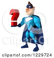 Clipart Of A 3d Blue Super Hero Man Holding A Question Mark 2 Royalty Free Illustration