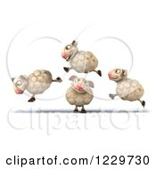 Clipart Of A 3d Happy Sheep Jumping Over One Royalty Free Illustration