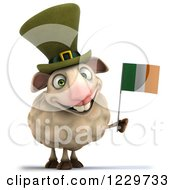 Clipart Of A 3d Happy Irish Sheep Holding A Flag 2 Royalty Free Illustration