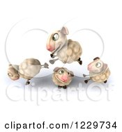 Clipart Of A 3d Happy Sheep Jumping Over One 2 Royalty Free Illustration
