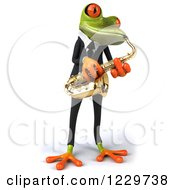 Clipart Of A 3d Green Springer Frog Playing A Saxophone In A Suit 3 Royalty Free Illustration
