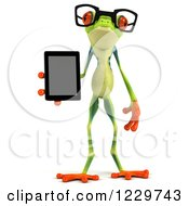 Clipart Of A 3d Bespectacled Argie Frog Holding A Tablet Computer Royalty Free Illustration