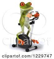 Clipart Of A 3d Green Springer Frog Exercising On A Stationary Spin Bike 2 Royalty Free Illustration