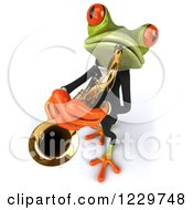 Clipart Of A 3d Green Springer Frog Playing A Saxophone In A Suit 5 Royalty Free Illustration