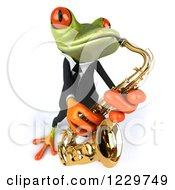 Clipart Of A 3d Green Springer Frog Playing A Saxophone In A Suit 4 Royalty Free Illustration