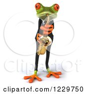 Clipart Of A 3d Green Springer Frog Playing A Saxophone In A Suit Royalty Free Illustration