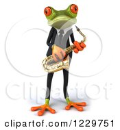 Clipart Of A 3d Green Springer Frog Playing A Saxophone In A Suit 2 Royalty Free Illustration by Julos