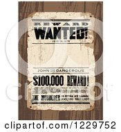 Clipart Of A Distressed Wanted Reward Sign Over Wood Royalty Free Vector Illustration