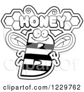 Clipart Of A Black And White Letter B Bee With Honey Text Royalty Free Vector Illustration by Cory Thoman