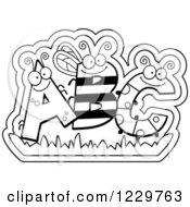 Clipart Of Black And White Ant Bee And Caterpillar Bug Letters ABC Royalty Free Vector Illustration by Cory Thoman