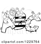 Clipart Of Black And White Ant Bee And Caterpillar Letters ABC Royalty Free Vector Illustration by Cory Thoman