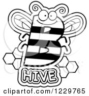 Clipart Of A Black And White Letter B Bee With Hive Text Royalty Free Vector Illustration by Cory Thoman