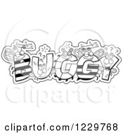 Clipart Of Black And White Letter Insects Forming The Word BUGGY Royalty Free Vector Illustration