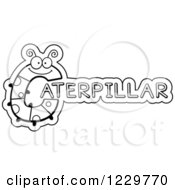 Clipart Of A Black And White Letter C Bug Forming The Word CATERPILLAR Royalty Free Vector Illustration by Cory Thoman