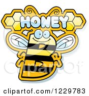 Clipart Of A Letter B Bee With Honey Text Royalty Free Vector Illustration by Cory Thoman