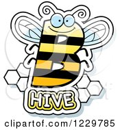 Clipart Of A Letter B Bee With Hive Text Royalty Free Vector Illustration by Cory Thoman