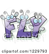 Clipart Of Purple Letter Insects Forming The Word FLY Royalty Free Vector Illustration