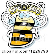Clipart Of A Letter B Bee With Spelling Text Royalty Free Vector Illustration by Cory Thoman