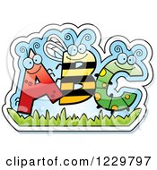 Clipart Of Ant Bee And Caterpillar Bug Letters ABC Royalty Free Vector Illustration