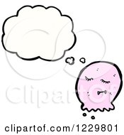 Clipart Of A Thinking Pink Blob Royalty Free Vector Illustration