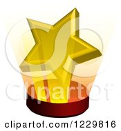 Clipart Of A 3d Shining Golden Star On A Stand Royalty Free Vector Illustration