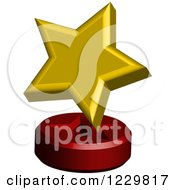 Clipart Of A 3d Golden Star On A Stand Royalty Free Vector Illustration by Cherie Reve