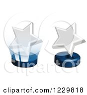 Clipart Of 3d White Star Awards On Stands Royalty Free Vector Illustration