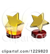 Clipart Of 3d Golden Star Awards On Stands Royalty Free Vector Illustration