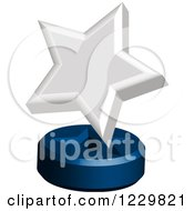 Clipart Of A 3d White Star Award On A Stand Royalty Free Vector Illustration by Cherie Reve