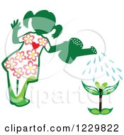 Clipart Of A Green Girl Watering A Seedling Plant Royalty Free Vector Illustration by Cherie Reve