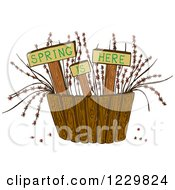 Clipart Of Spring Is Here Signs With Plants Behind A Fence Royalty Free Vector Illustration by Cherie Reve