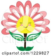 Clipart Of A Happy Pink And Yellow Flower Royalty Free Vector Illustration by Cherie Reve