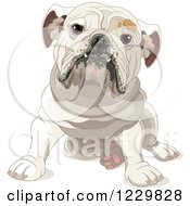 Clipart Of A Cute Bulldog Sitting Royalty Free Vector Illustration