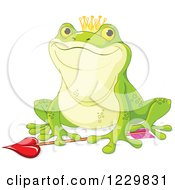 Clipart Of A Happy Frog Prince Over Cupids Arrow Royalty Free Vector Illustration