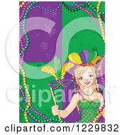 Clipart Of A Festive Mardi Gras Woman Holding A Mask Over Tiles And Beads Royalty Free Vector Illustration
