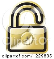 Clipart Of A Gold Open Padlock Icon Royalty Free Vector Illustration by Lal Perera