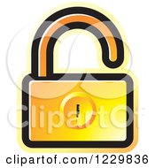 Clipart Of A Gradient Orange Open Padlock Icon Royalty Free Vector Illustration by Lal Perera