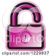 Clipart Of A Pink Open Padlock Icon Royalty Free Vector Illustration by Lal Perera