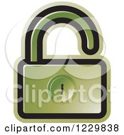 Clipart Of A Green Open Padlock Icon Royalty Free Vector Illustration by Lal Perera
