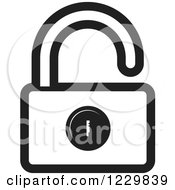 Clipart Of A Black And White Open Padlock Icon Royalty Free Vector Illustration by Lal Perera