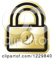 Clipart Of A Gold Padlock Icon Royalty Free Vector Illustration by Lal Perera