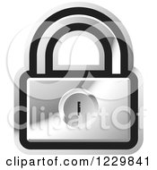 Clipart Of A Silver Padlock Icon Royalty Free Vector Illustration by Lal Perera