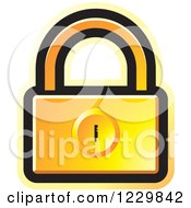 Clipart Of A Yellow Padlock Icon Royalty Free Vector Illustration by Lal Perera