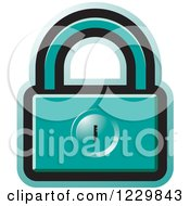 Clipart Of A Turquoise Padlock Icon Royalty Free Vector Illustration by Lal Perera