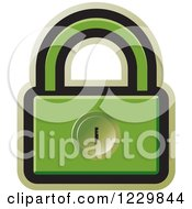 Clipart Of A Green Padlock Icon Royalty Free Vector Illustration by Lal Perera