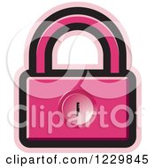 Clipart Of A Pink Padlock Icon Royalty Free Vector Illustration by Lal Perera